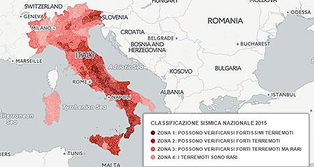 La mappa della pericolosit sismica in italia comune per for Mappa sismica italia